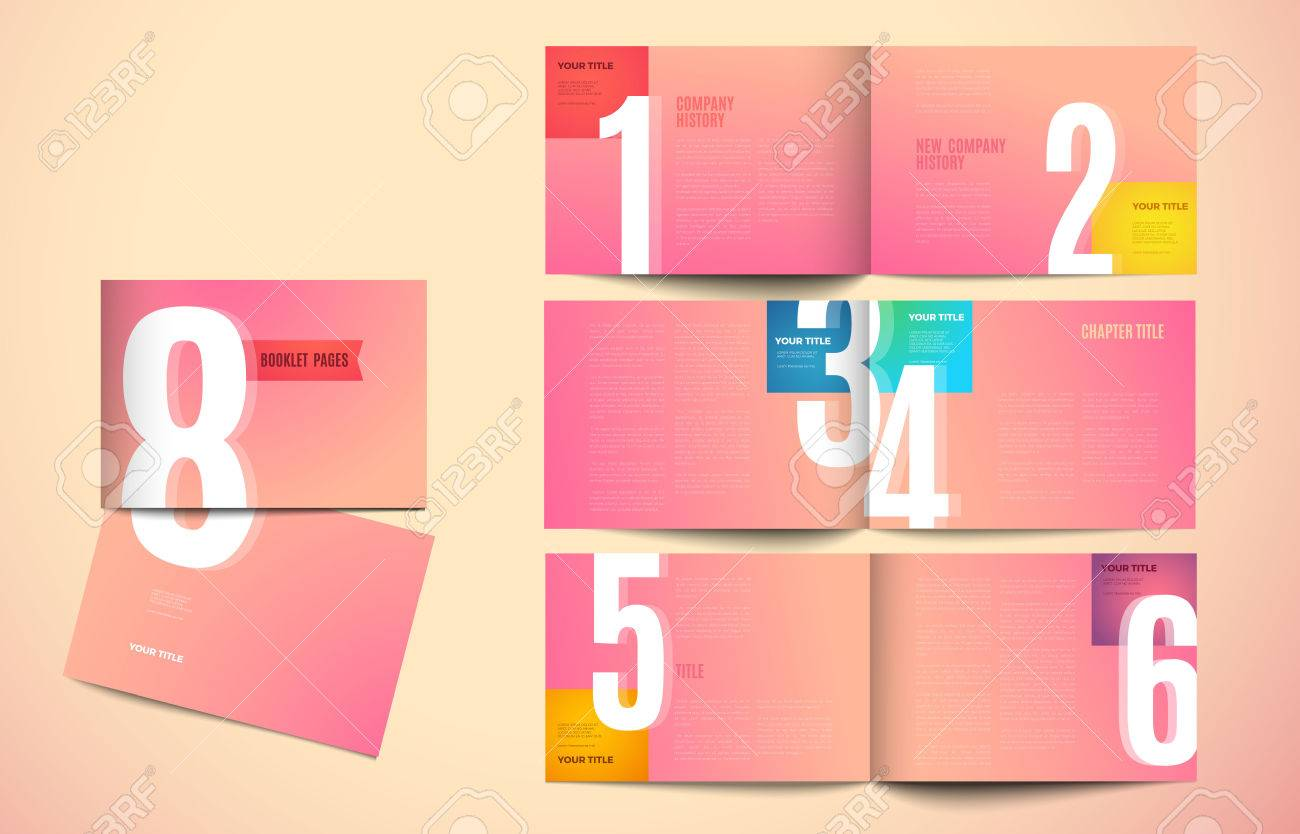 graphic design book template. color creative pages and cover