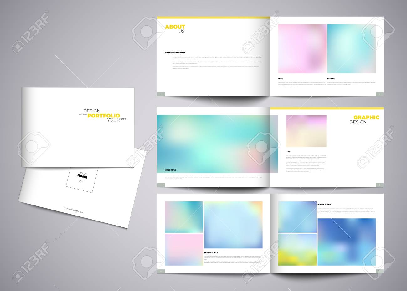 Graphic Design Studio Portfolio Template White Creative Pages Royalty Free Cliparts Vectors And Stock Illustration Image 61035425