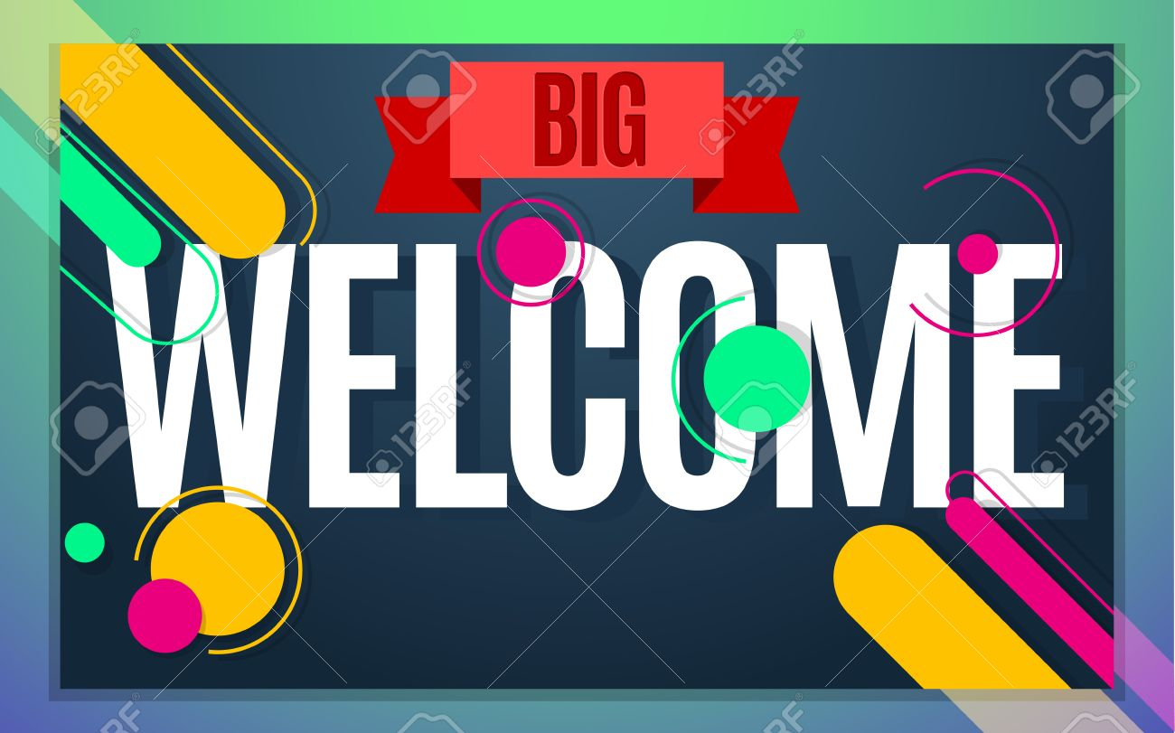 Modern Style Welcome Banner Color Design Vector Illustration