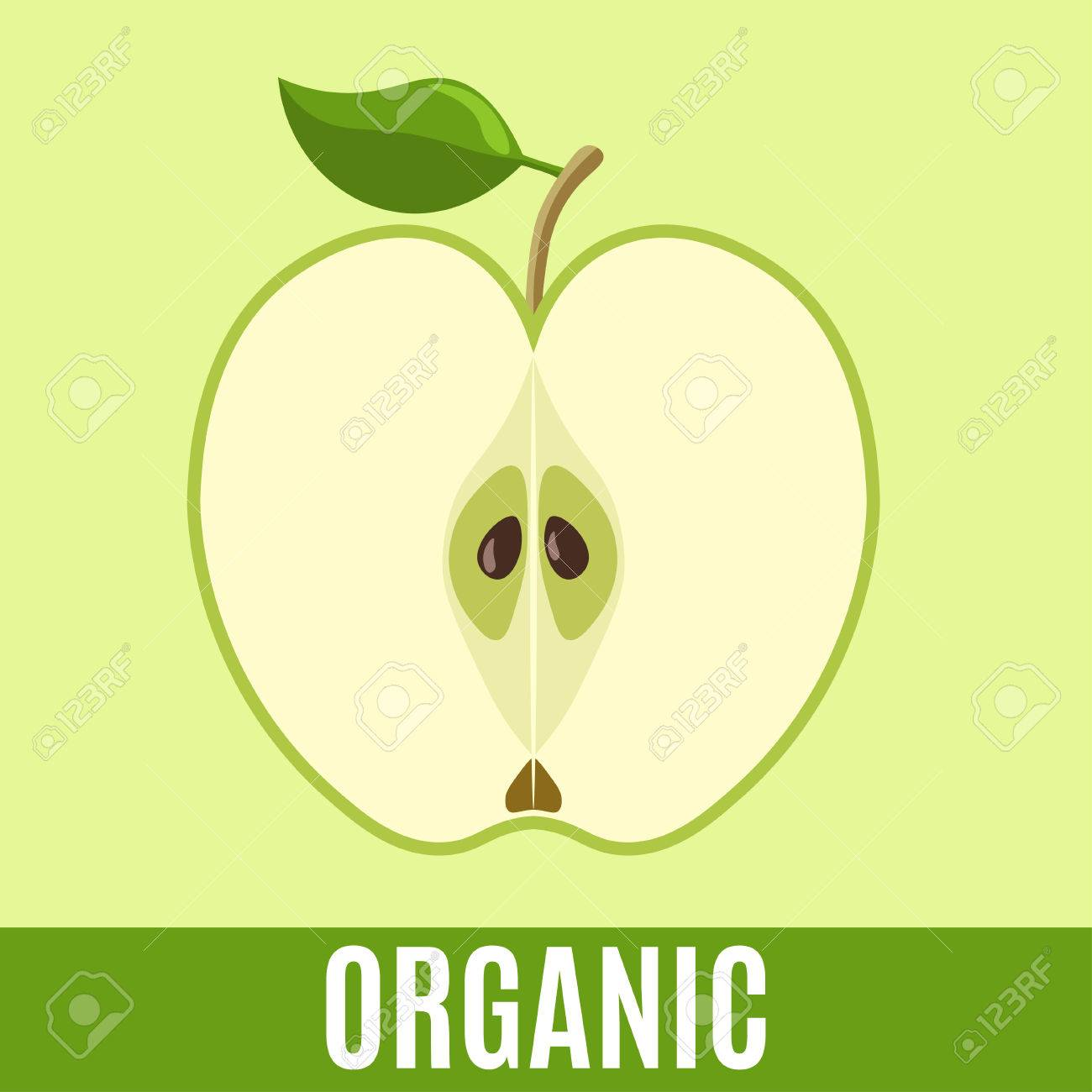 Organische Abfälle Flach Symbol Mit Apfel Und Text. Vektor-Konzept ...