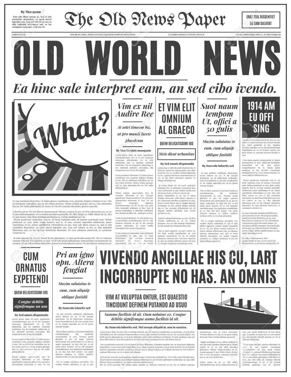 Diseño De época Antigua Periódico. Plantilla De La Vertical Retro ...