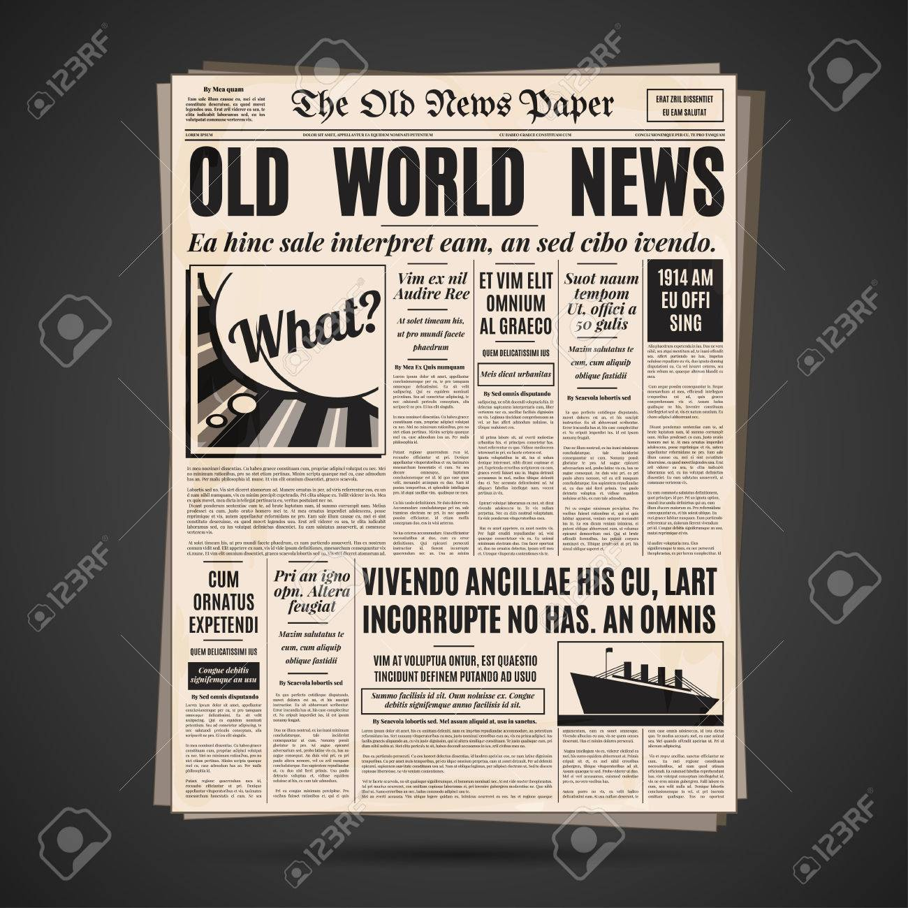 Old newspaper vintage design. Retro vertical background vector template with text and images. - 65941766