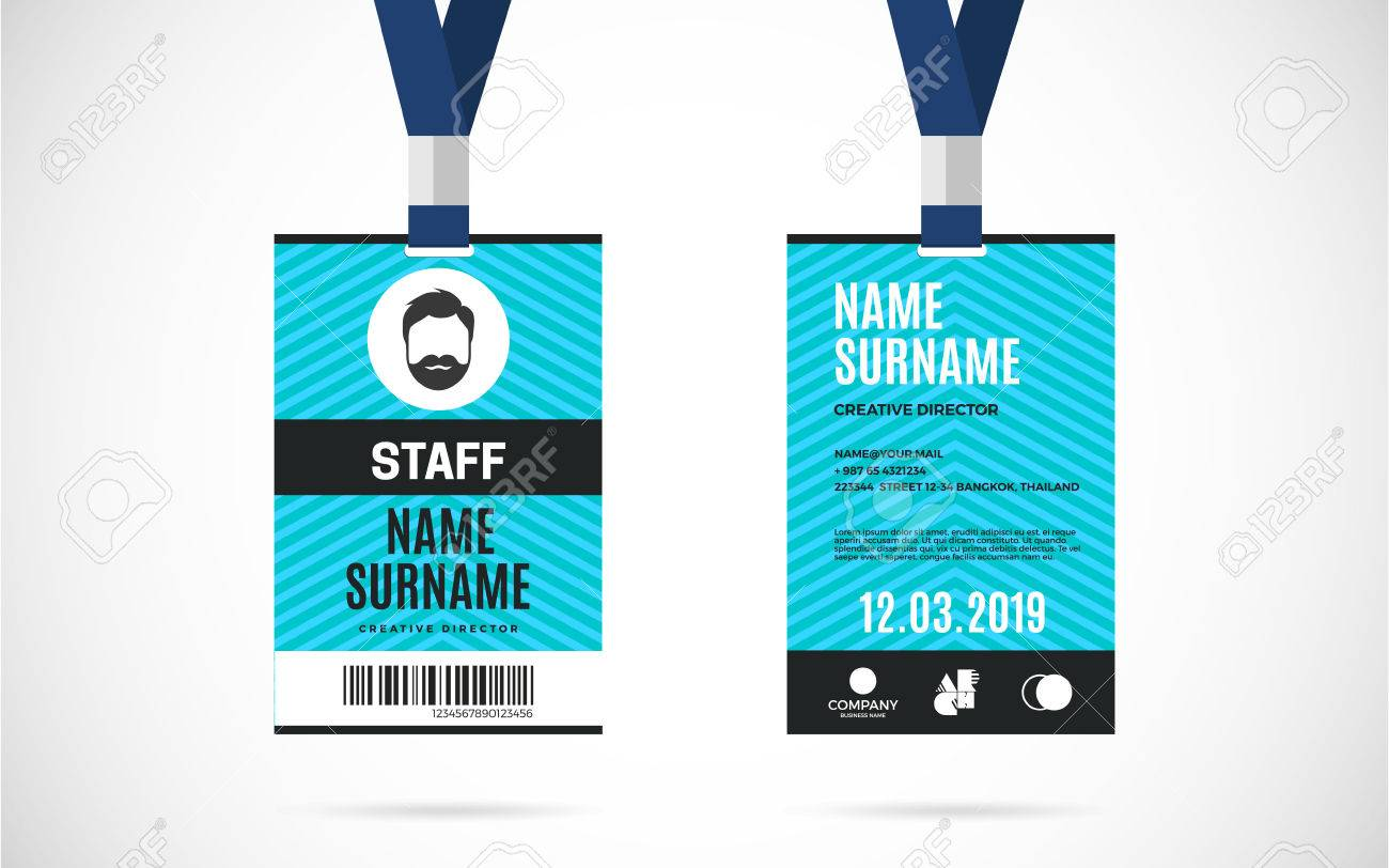 Event Staff Id Card Set With Lanyard. Vector Design And Text ...