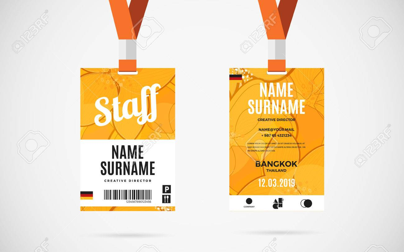 Event Staff Id Card Set With Lanyard Vector Design And Text