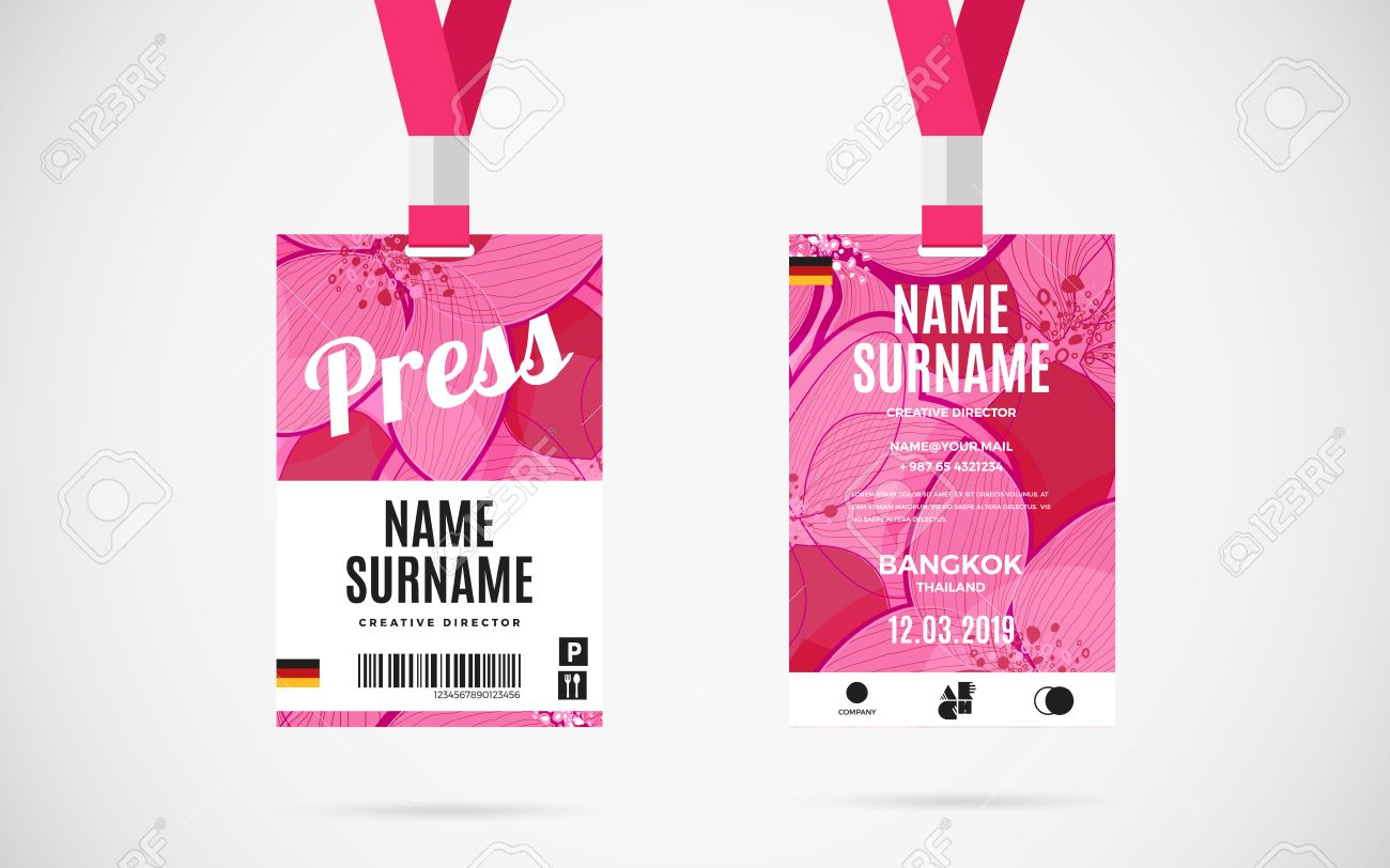 Event Press Id Card Set With Lanyard Vector Design And Text