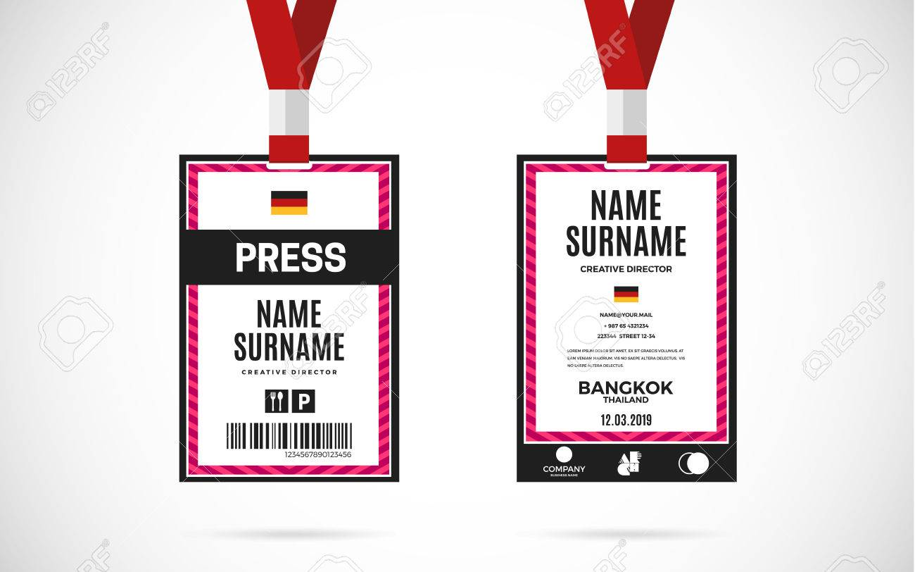 Vector Image Event Vectors Card Text Cliparts Set Royalty Press Lanyard With Id Design 68113023 And Illustration Free Stock
