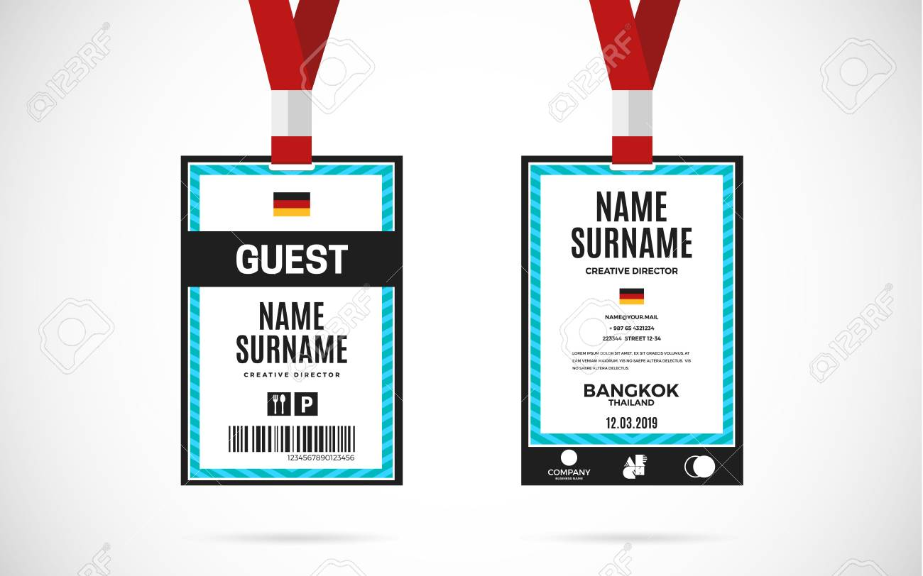 Event Guest Id Card Set With Lanyard. Vector Design And Text Template  Illustration Stock Vector  Guest Card Template