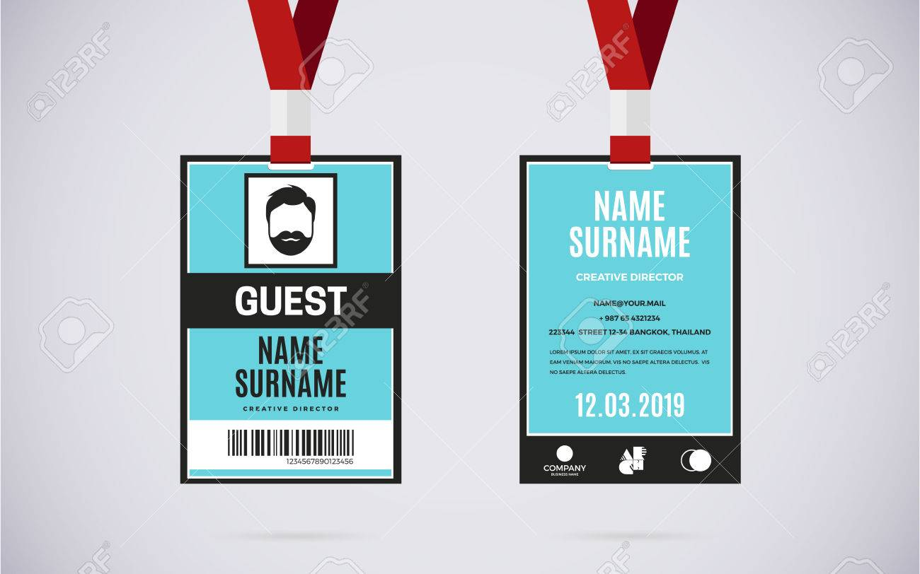 Stock Illustration Image Set Card Vectors 68113241 Event Design Guest Lanyard And Vector Text Cliparts Id Royalty Free With