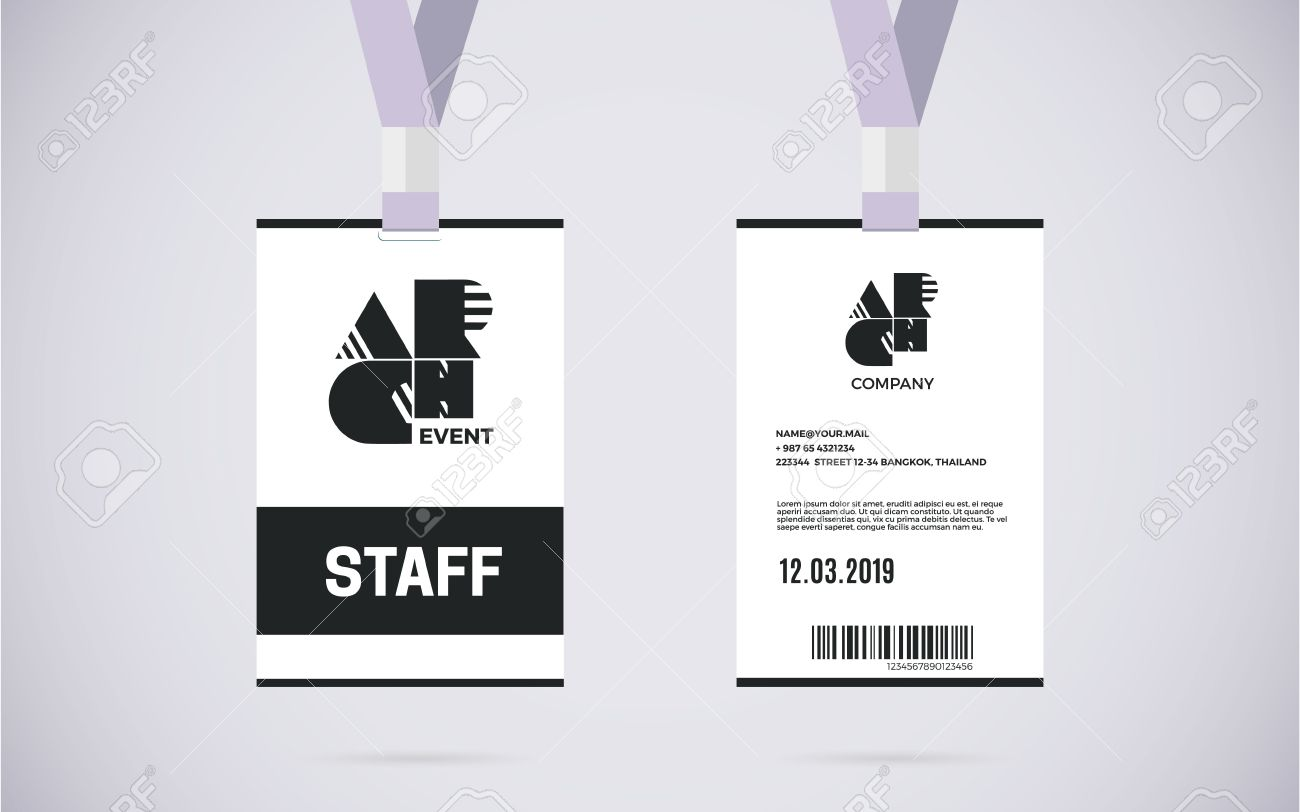 Evento Tarjeta Personal Identificación Del Conjunto Con La Cuerda De ...