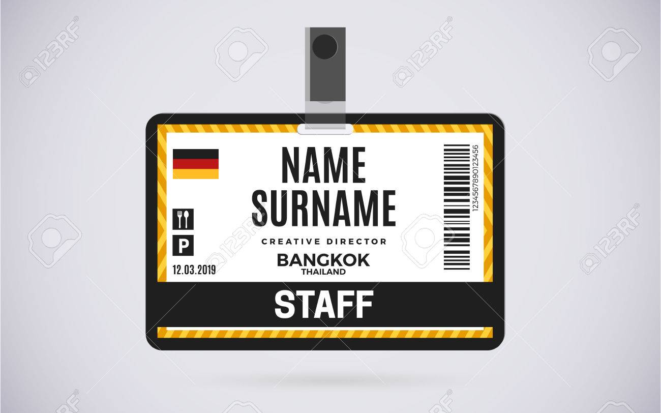 Event Staff Id Card Plastic Badge With Lanyard. Vector Design ...