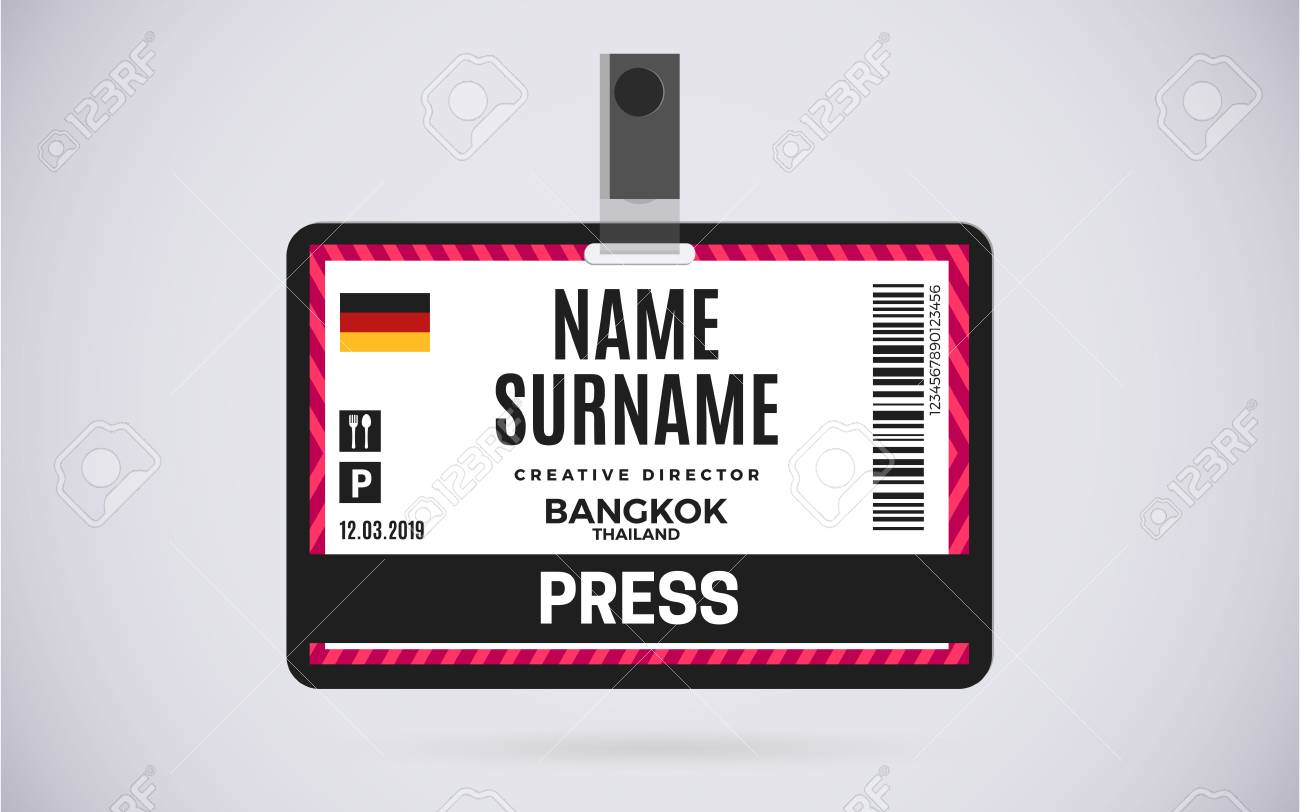 Event Press Id Card Plastic Badge With Lanyard Vector Design