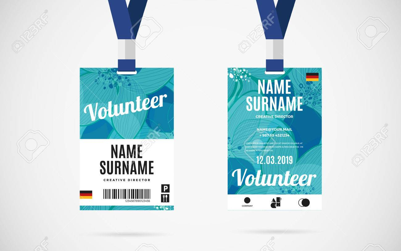 Event Volunteer Id Card Set With Lanyard. Vector Design And Text ...