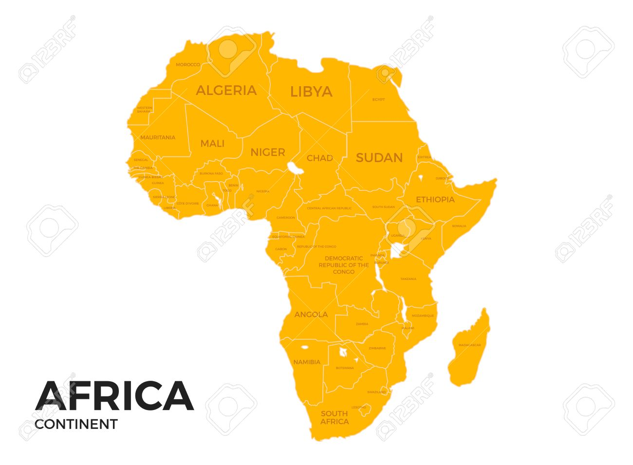 Africa Continent Location Modern Detailed Vector Map. All World ...