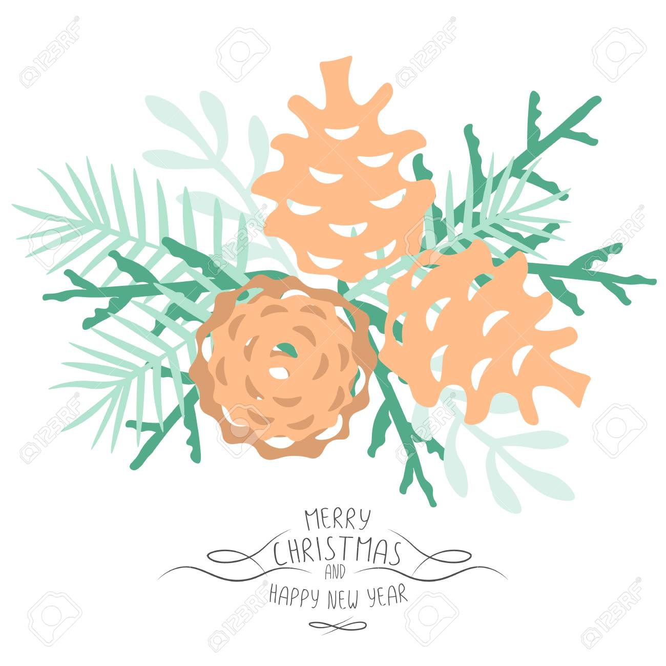 vector vintage merry christmas and happy new year background pine cones and spruce twigs stylish vector illustration on winter greeting card