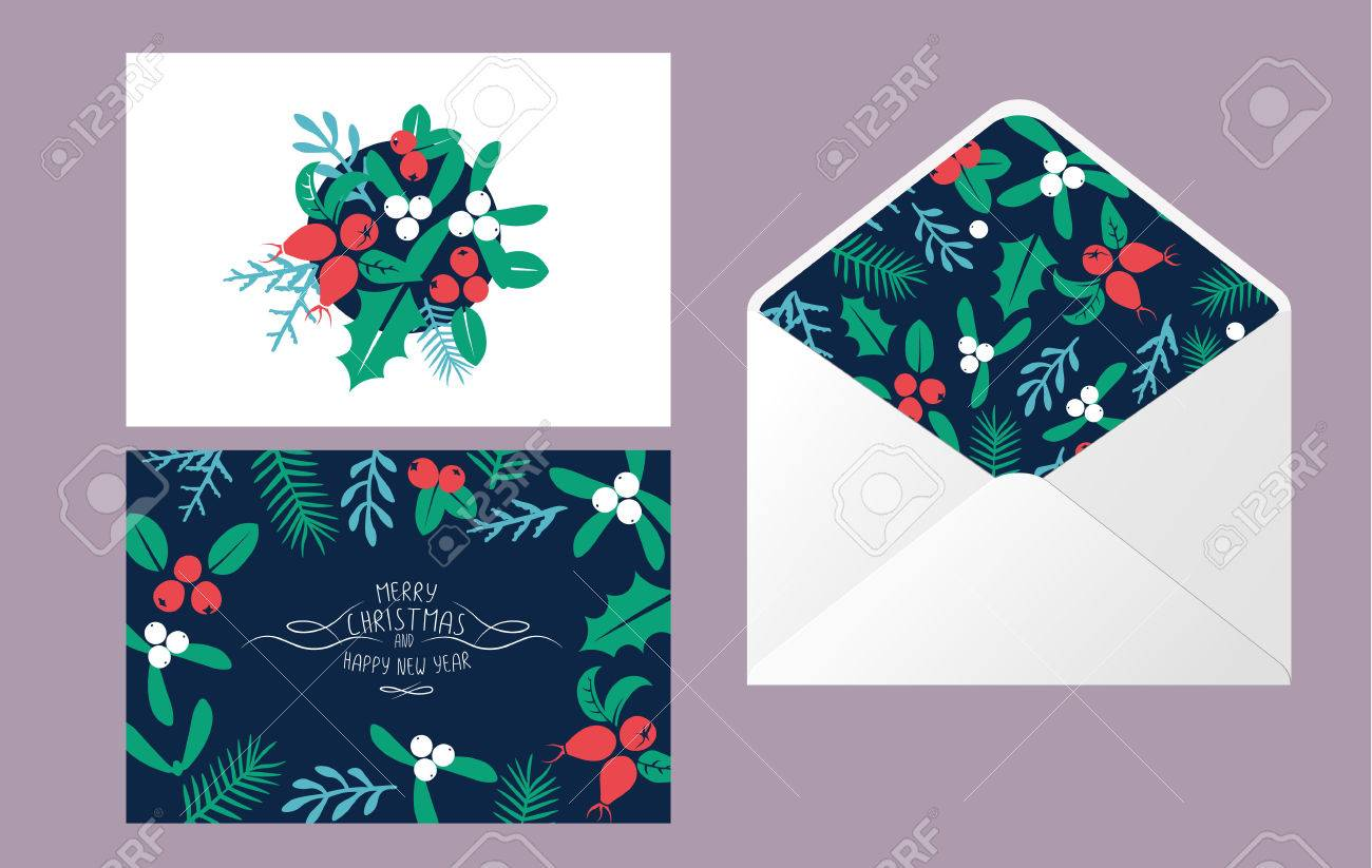 vintage merry christmas and happy new year envelope template