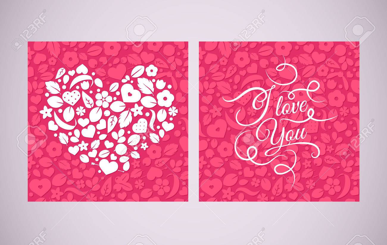 Happy Valentines Day Vector Love With Hearts And Flowers Postal