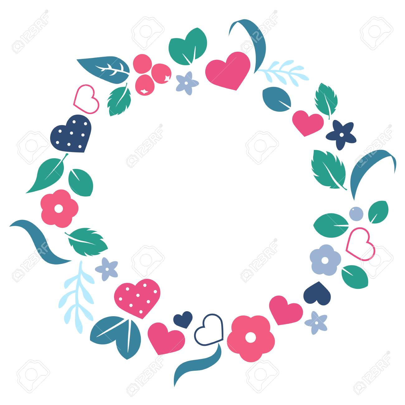 Vector Love Frame With Hearts And Flowers Creative Design For