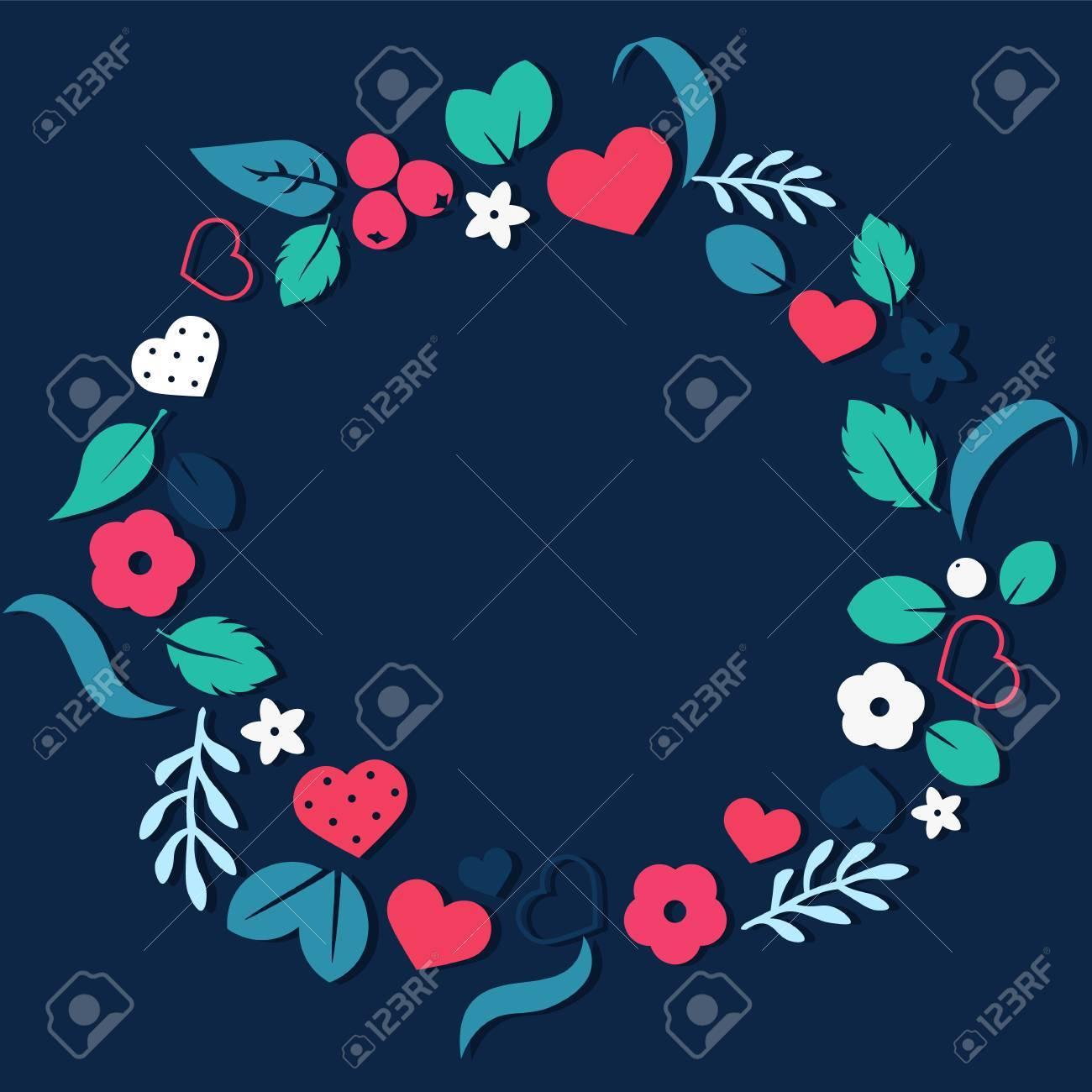 Vector Liebe Rahmen Hintergrund Mit Herzen Und Blumen. Kreatives ...