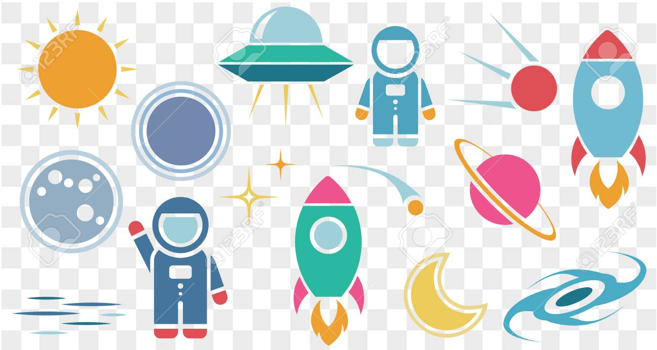 vector flat cosmos design background cute template with astronaut