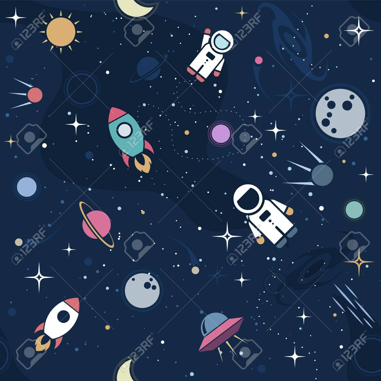 vector flat space seamless pattern background cute color template