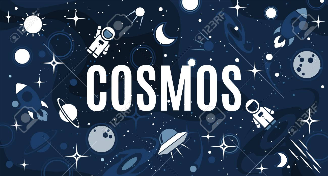 vector flat cosmos design background with text cute template
