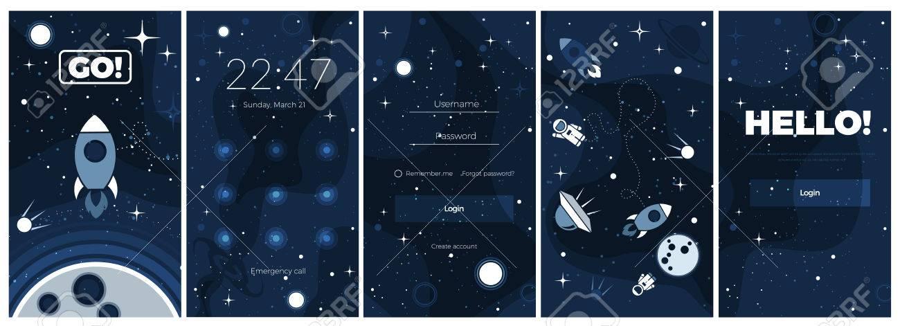 Vector Flat Cosmos Background Modern UI GUI Screen Design