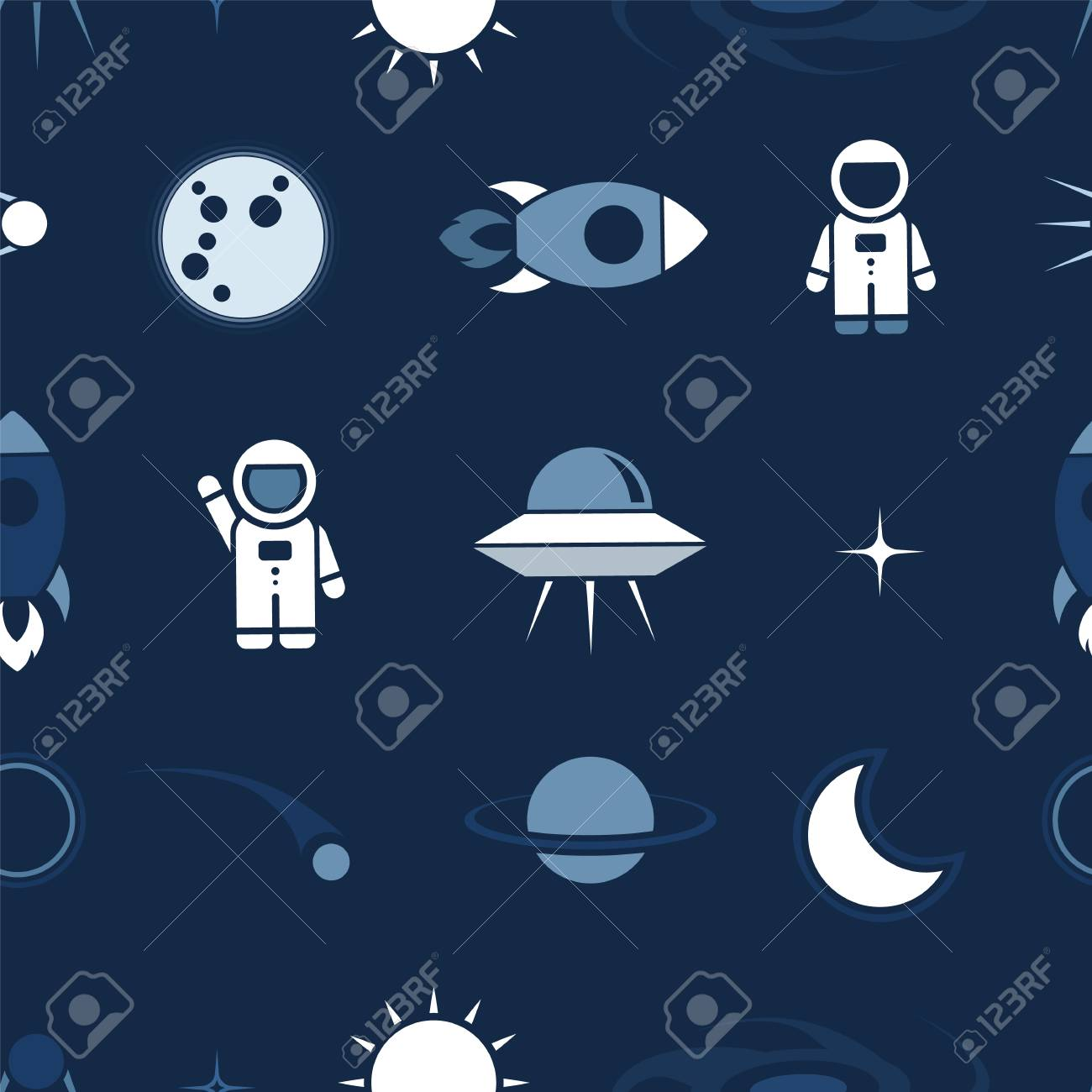 Template Of A Flying Astronaut Stock Photo