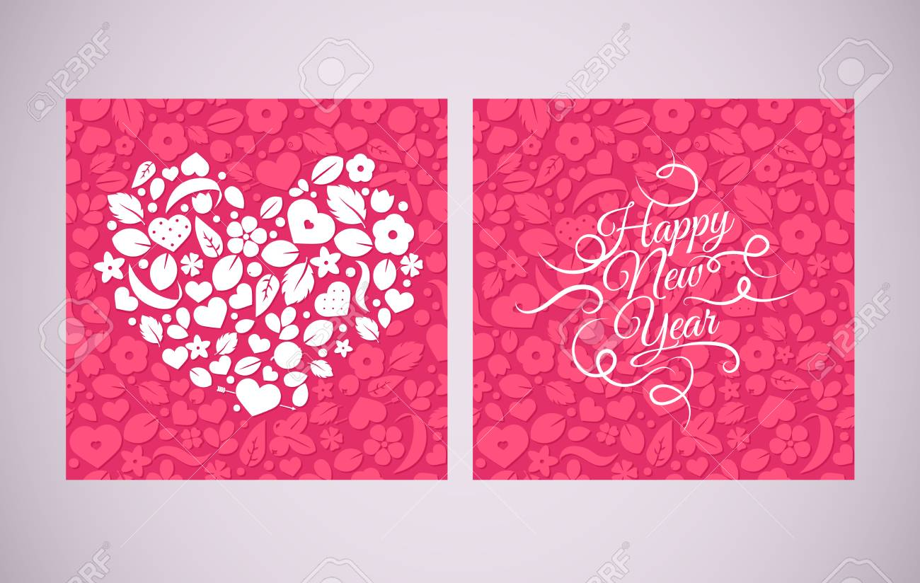 vector vector chinese new year background with hearts and flowers