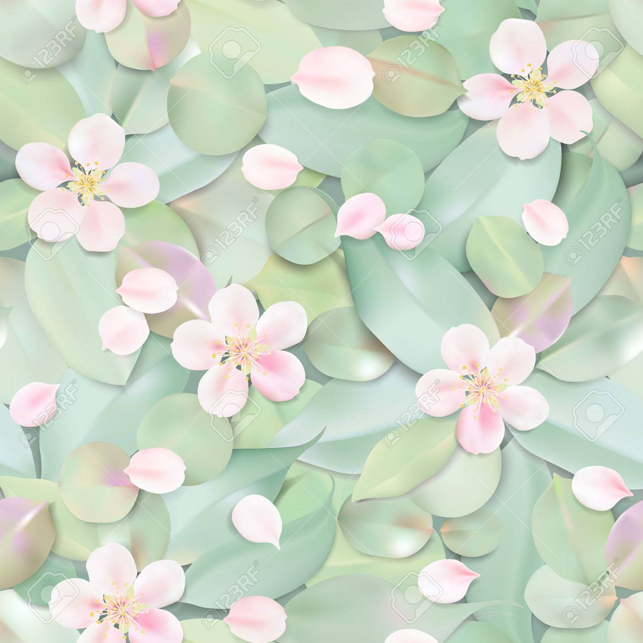 White pastel watercolor background soft green color leaves and vector white pastel watercolor background soft green color leaves and pink flowers in water seamless pattern illustration template mightylinksfo