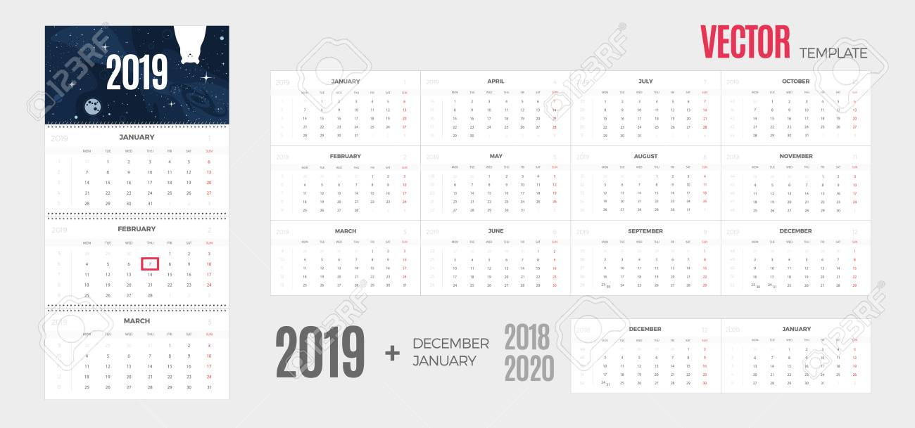 Calendar Pages To Print 2019.2019 Calendar Vector Quarterly Template Ready For Print With