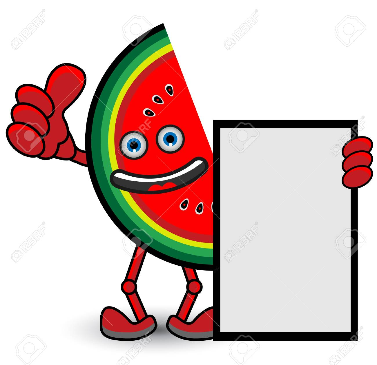 Watermelon Banner Thumb Up Pose Stock Vector - 13690340