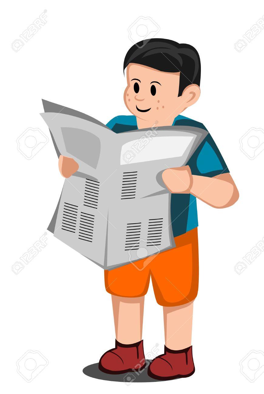 Niño Leer Un Periódico Ilustraciones Vectoriales, Clip Art ...