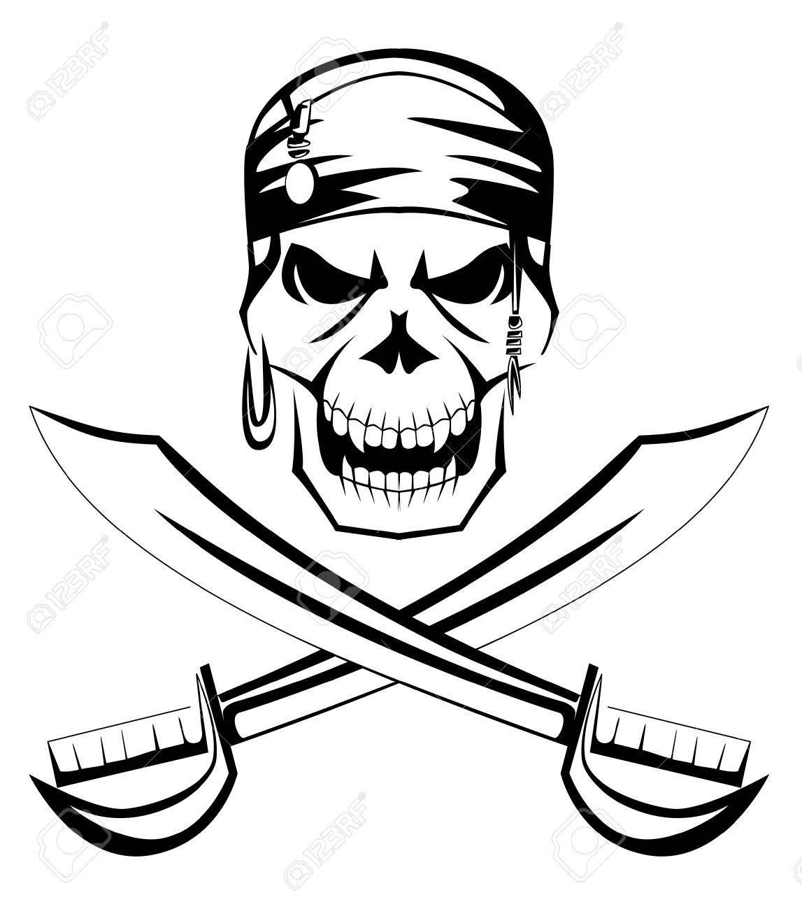 jolly roger pirate skull sword