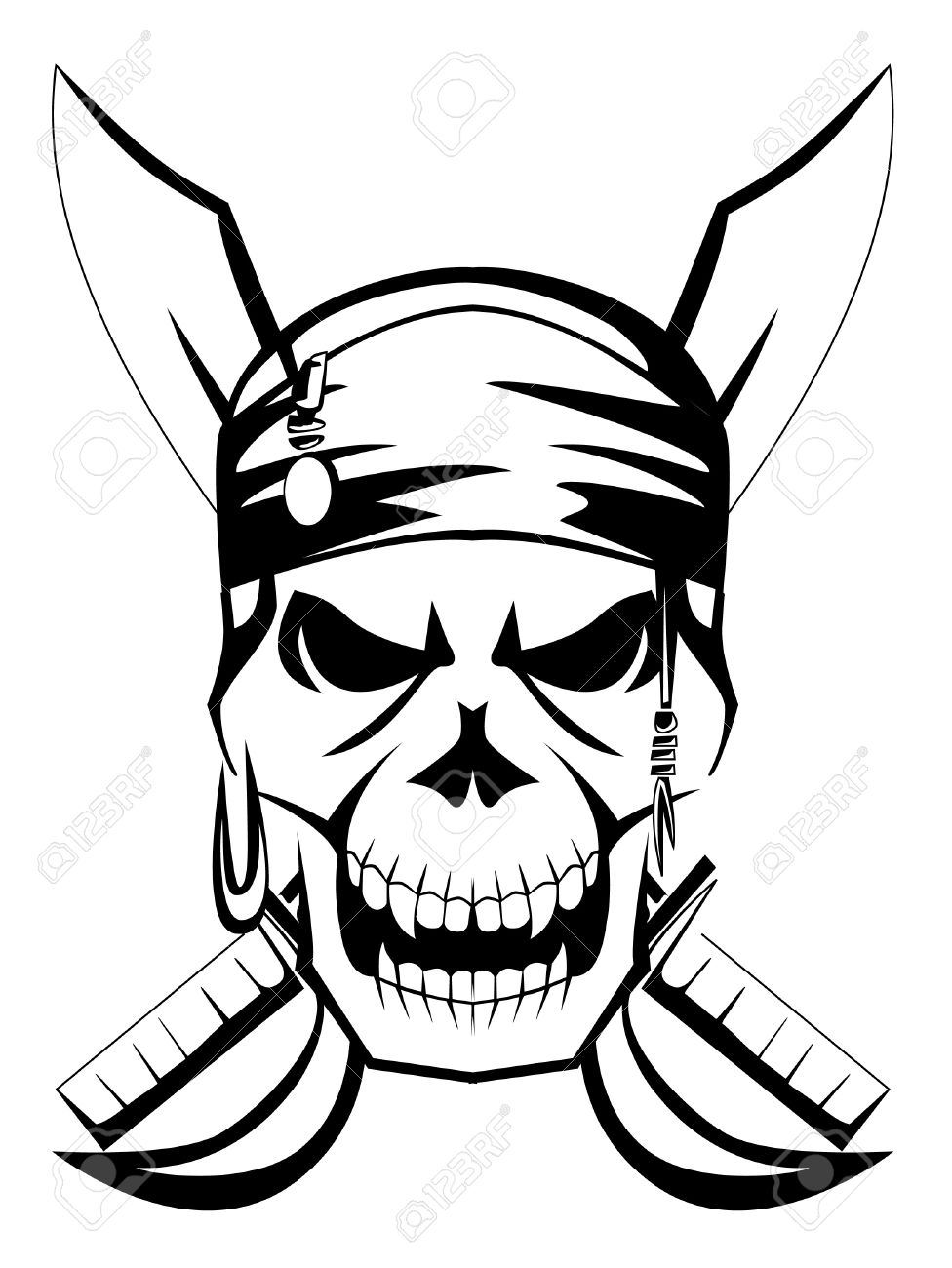 pirate skull sword Stock Vector - 15041636