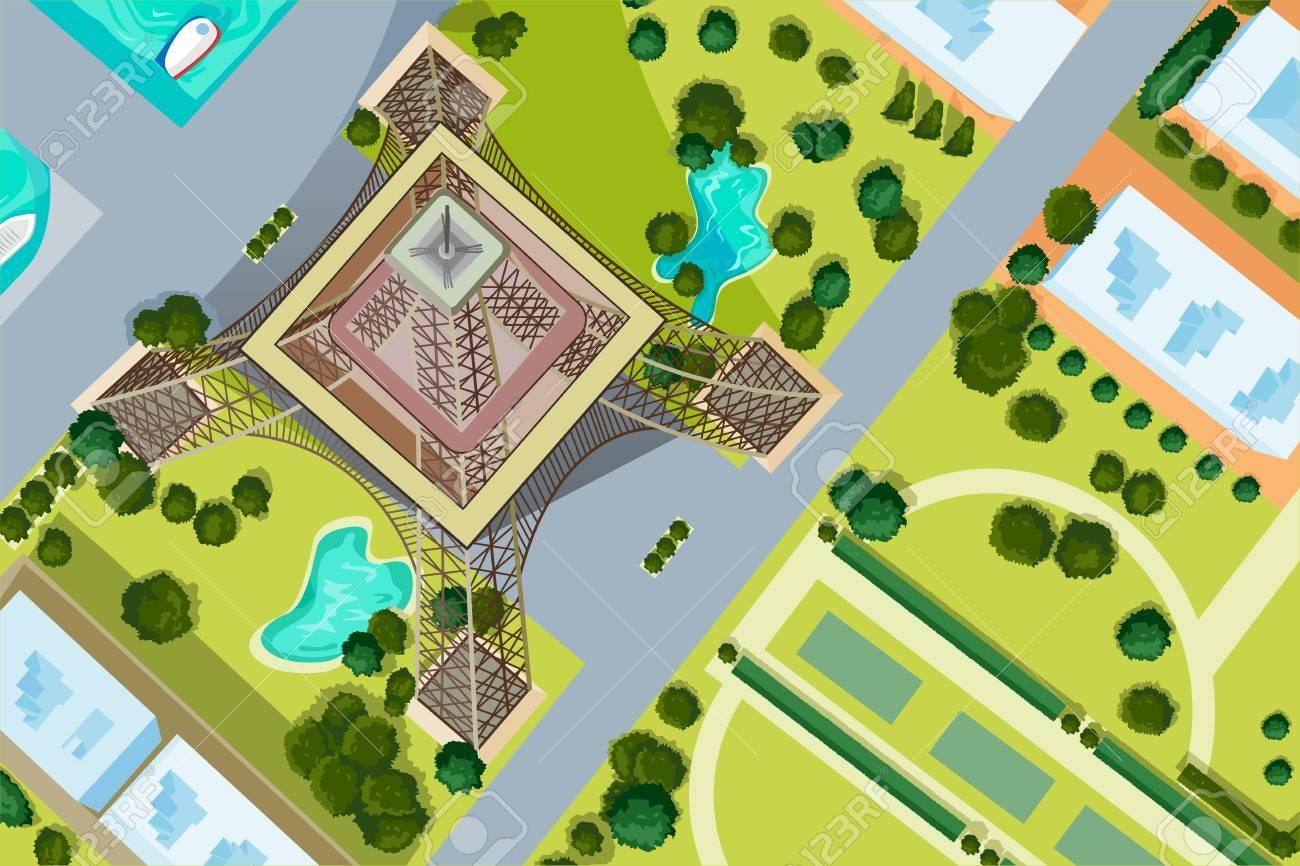Vector design of birds eye view of Eiffel Tower - 59839928