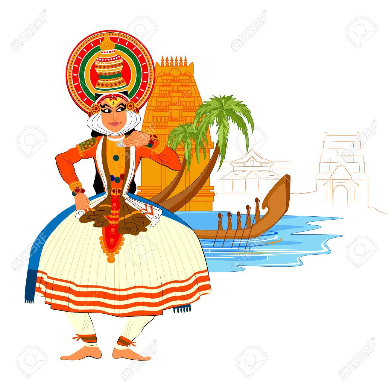 Vector design of Happy Onam background in Indian art style - 62249574