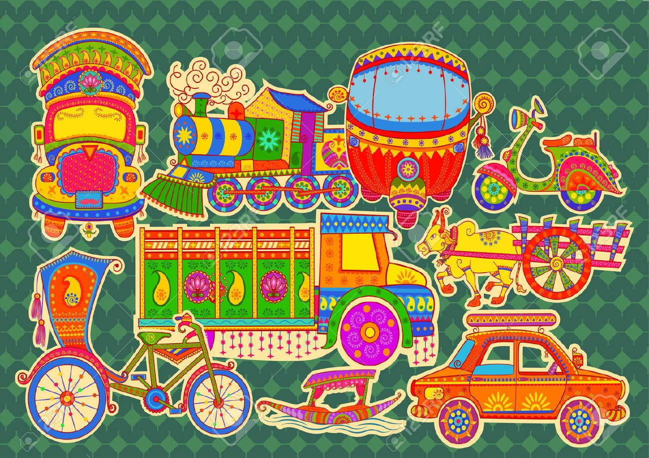 Vector design of transportation of India in Indian art style - 62249689