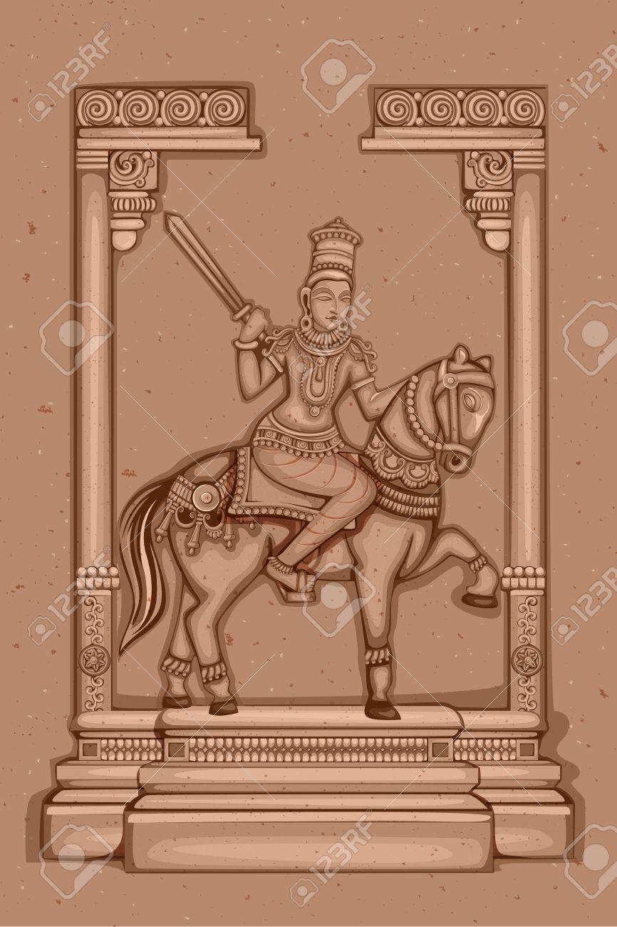 Vector Design Of Vintage Statue Of Indian Lord Kalki Sculpture One ...