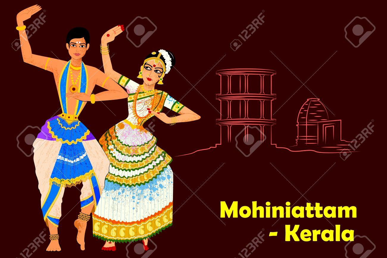 Vector design of Couple performing Mohiniattam classical dance of Kerala, India - 62249857