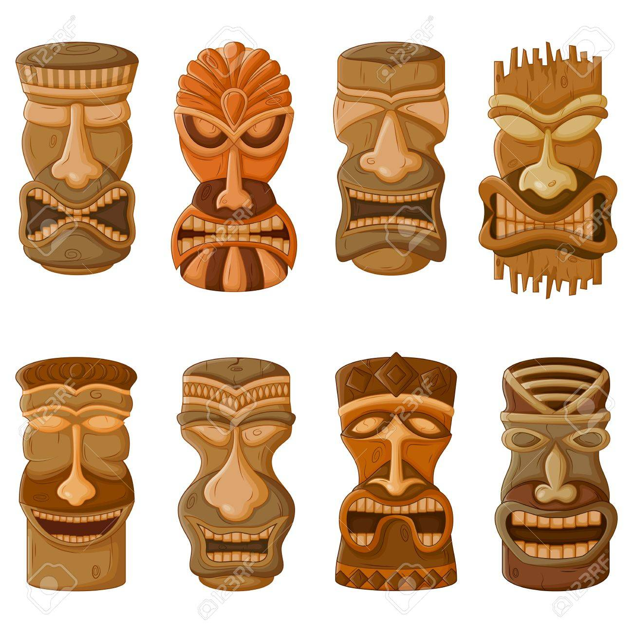 Vector design of Hawaiian Tiki tribal mask for religious or ethnic design - 62249901