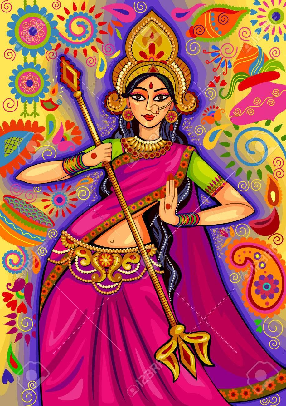design of Goddess Durga in floral Durga Puja Dussehra background - 63180338