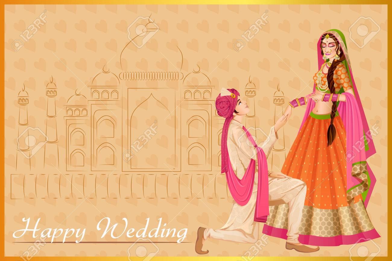Indischen Mann Schlagt Frau In Hochzeitszeremonie Von Indien
