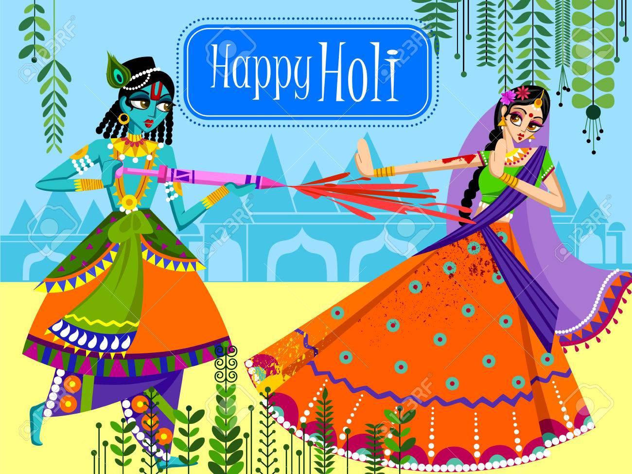 Indian God Krishna And Radha Celebrating Color Festival Of India