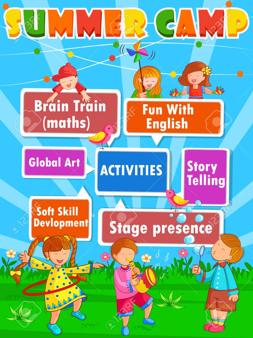 vector design of banner poster design template for kids summer