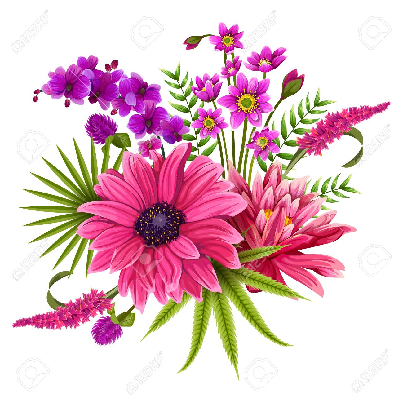 Colorful Vintage Flower Bouquet For Invitation And Greeting Card ...