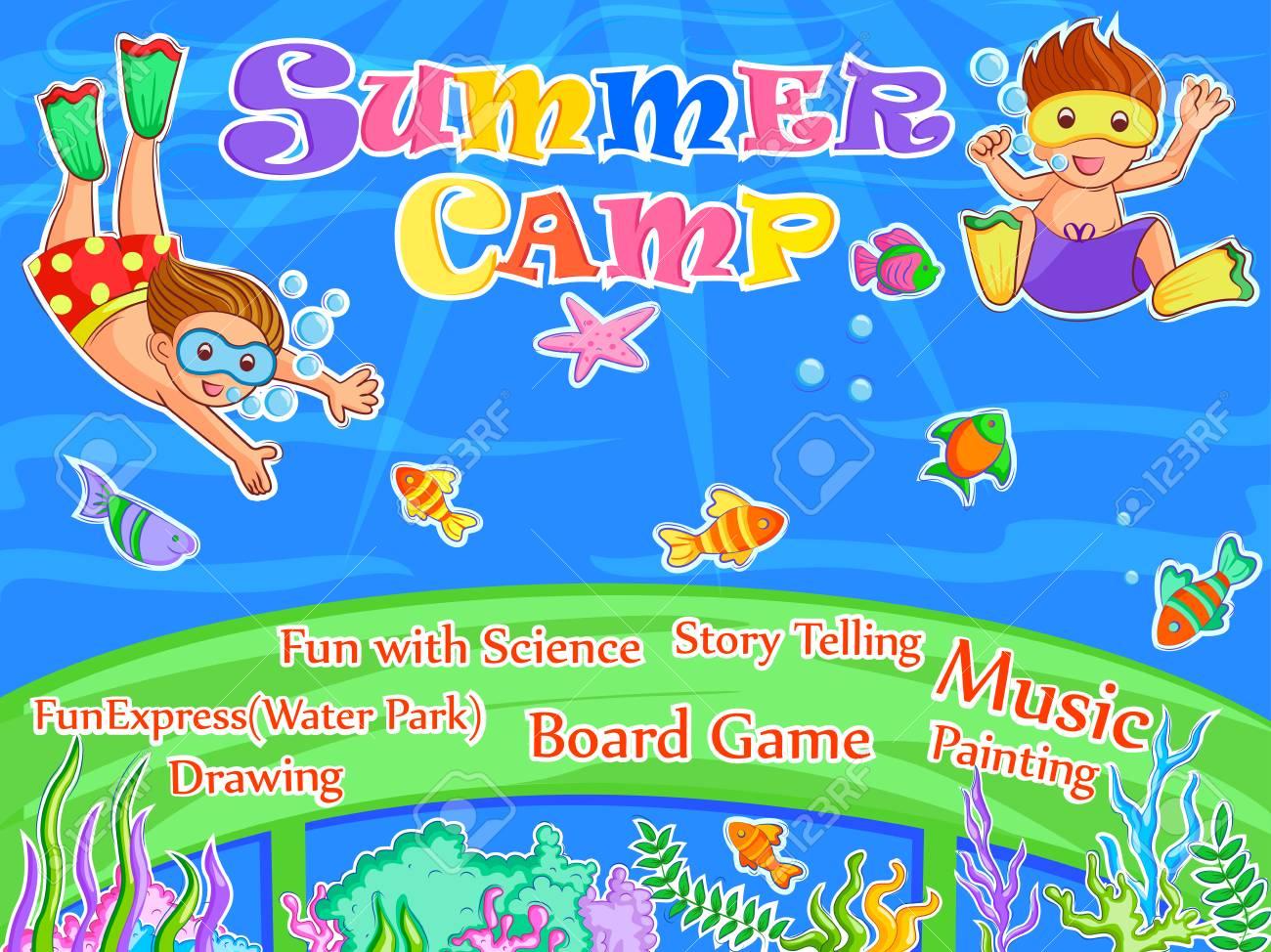 banner poster design template for kids summer camp activities
