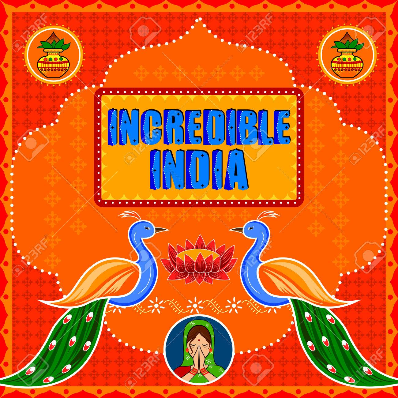 Incredible India background in Indian Truck Art style