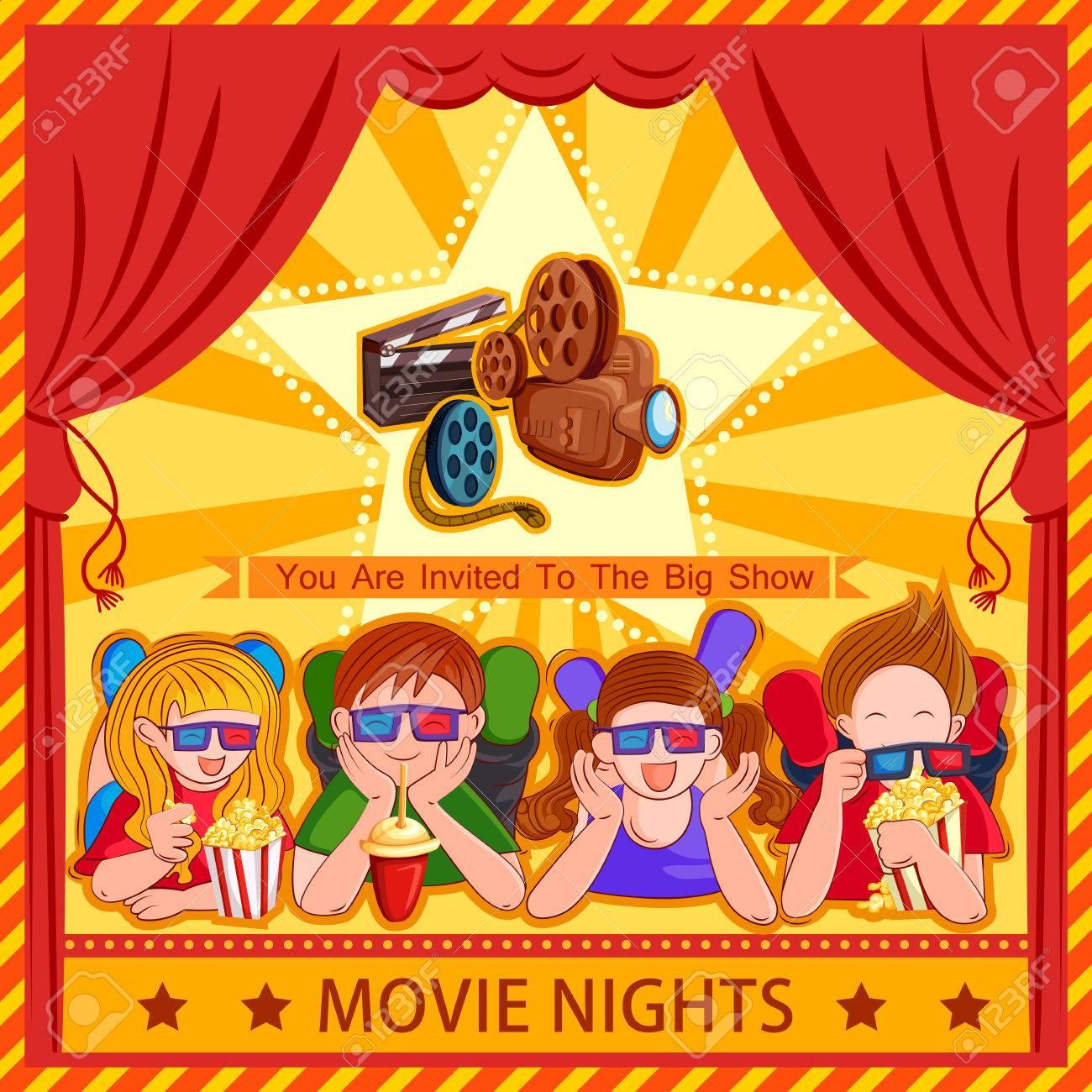 Poster Für Kinder Film Film Festival Party Nacht Lizenzfrei Nutzbare ...