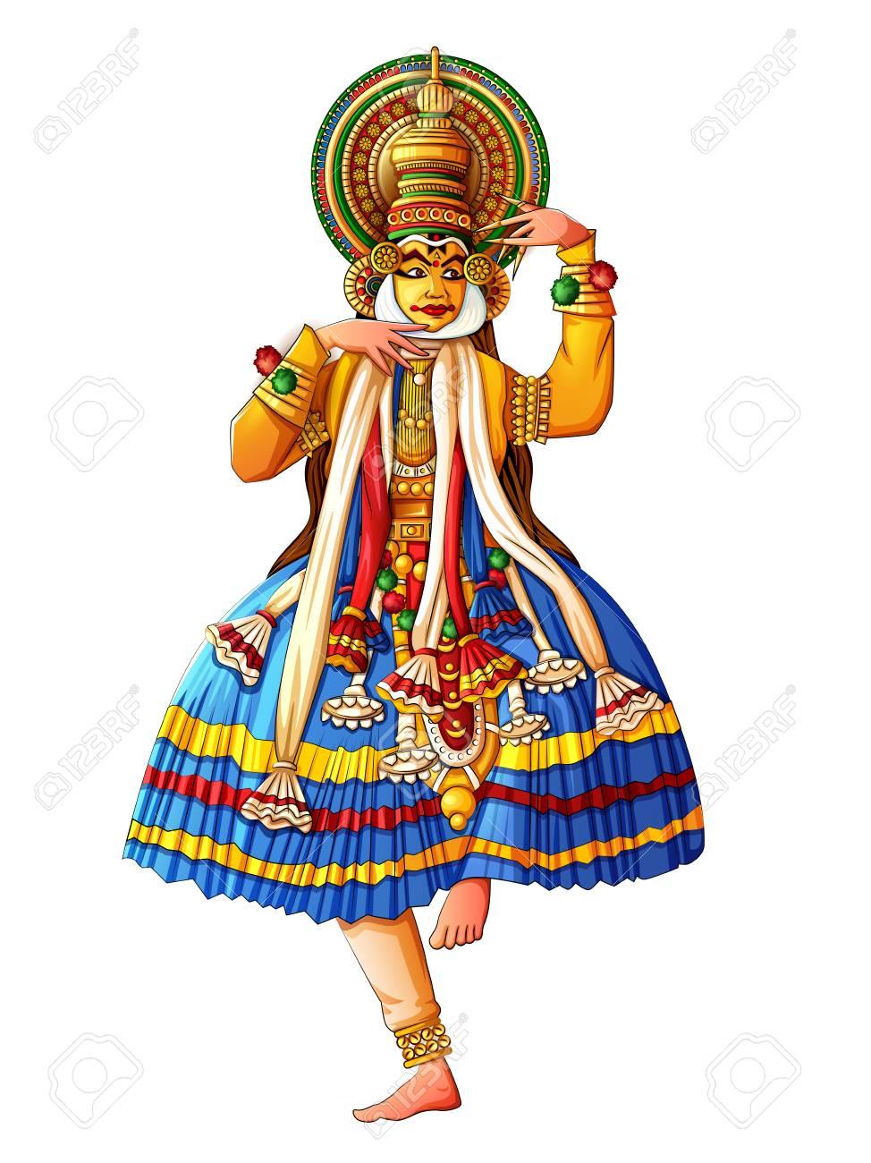 Man performing Kathakali classical dance of Kerala, India - 104889094