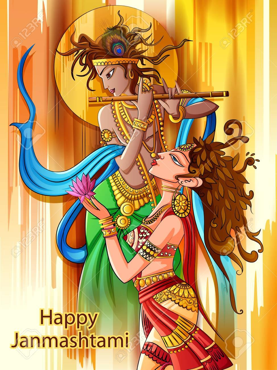 Lord Krishna playing bansuri flute with Radha on Happy Janmashtami